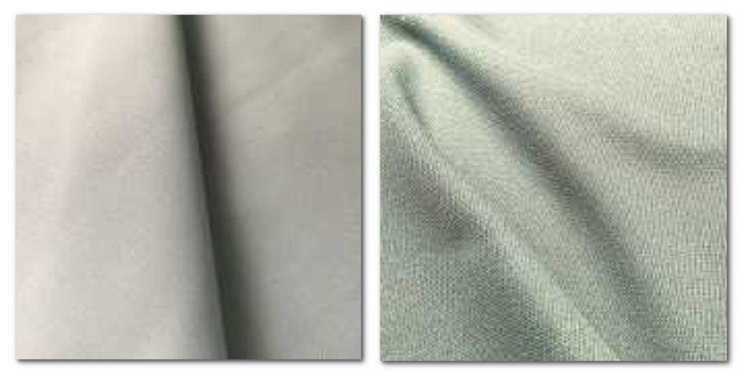 左:回收尼龍紗線製的布料,右:能加速分解的聚酯纖維布材。