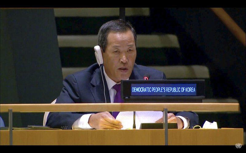 北韓駐聯合國大使金星(Kim Song)發言。 美聯社