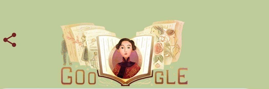 Google搜尋引擎也紀念張愛玲百歲誕辰。圖片取自Google網站
