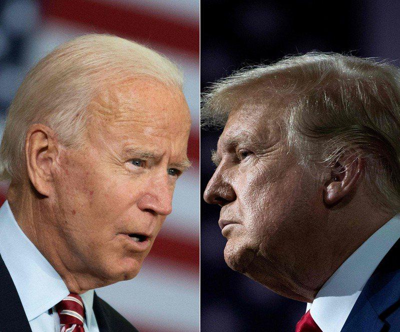 美國總統大選的首場辯論將於台灣時間今天(30日)上午9時登場,由現任總統川普(右圖)和民主黨候選人拜登(左圖)舌戰90分鐘。法新社