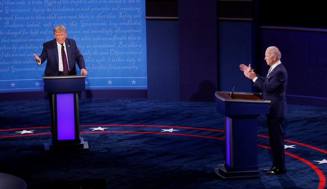 美國總統大選首場辯論會登場。  路透