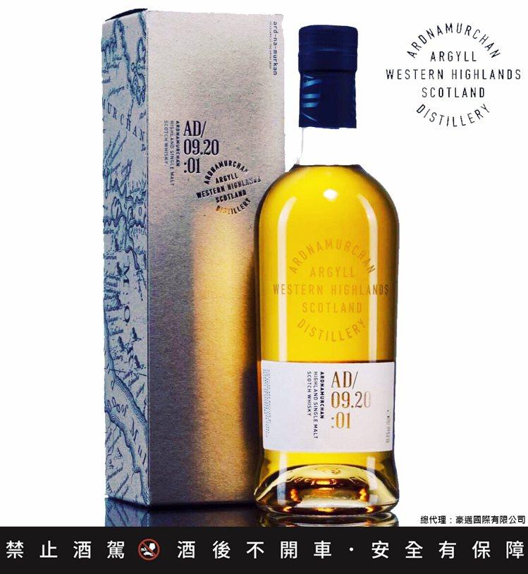 艾德麥康酒廠首款單一麥芽威士忌AD 09.20:01,酒精濃度46.8%。圖/豪...
