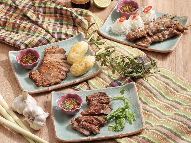 頌丹樂店內規劃有椰奶烤豬肉串、頌丹樂秘醬烤豬排奶香糯米串等多項燒烤料理。圖/頌丹...