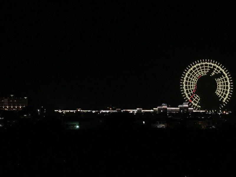 麗寶樂園玉兔現身,天空之夢摩天輪,將安排播放中秋燈光秀。圖/麗寶樂園渡假區提供