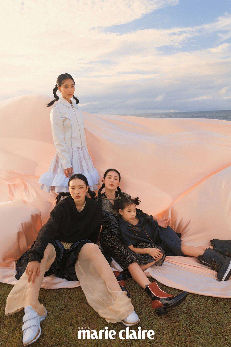 小S與3個女兒一起拍攝時尚雜誌封面。圖/Marie Claire美麗佳人提供