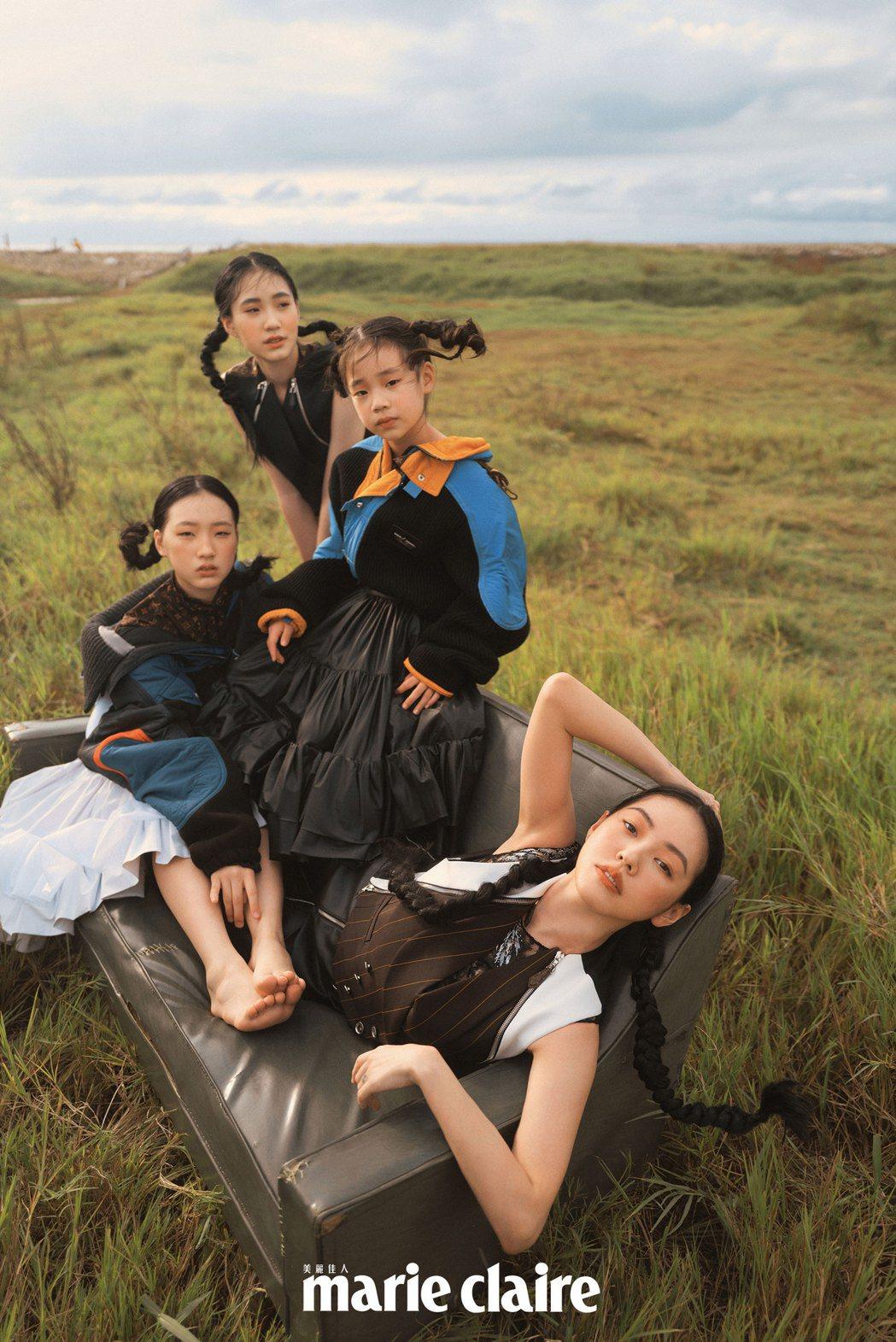 小S(前)與3個女兒一起拍攝時尚雜誌封面。圖/Marie Claire美麗佳人提...