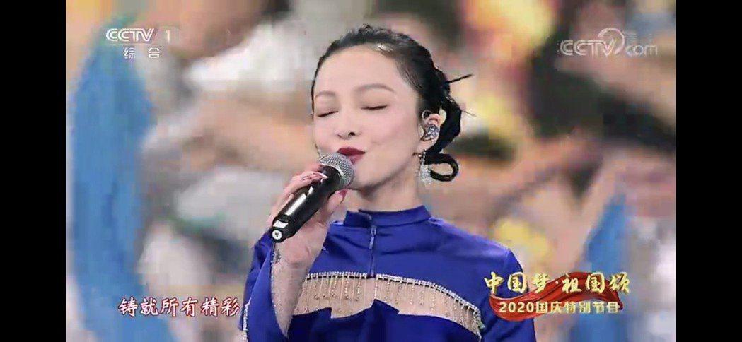 台灣藝人張韶涵在央視「十一」晚會展現好歌喉。圖/取自央視截圖