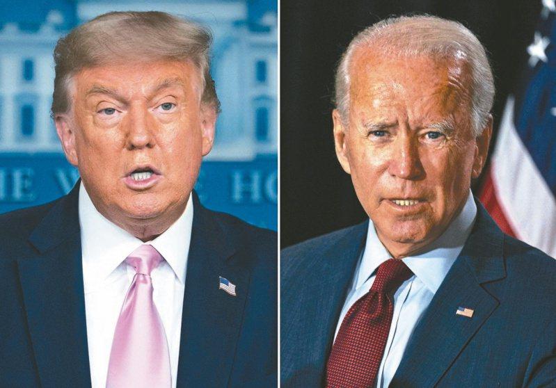 美國總統川普(左)與民主黨總統候選人拜登(右)舉行首場電視辯論。 (美聯社)