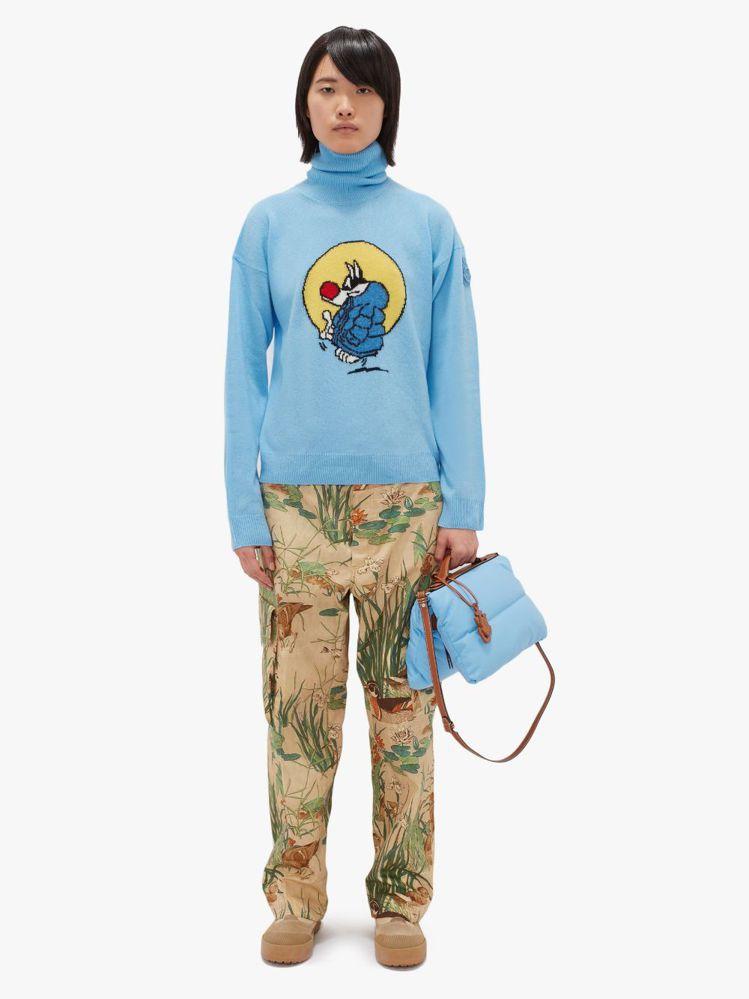 「1 Moncler JW Anderson」系列服裝有卡通傻大貓的圖案。圖/取...
