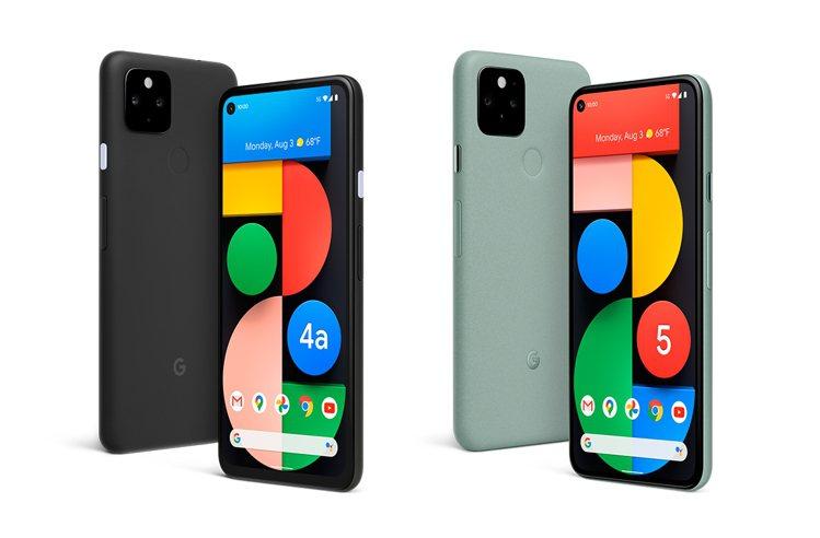 Google今日發表2款5G手機Pixel 4a 5G版(左)與Pixel 5(...