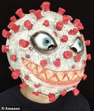 以冠狀病毒為主題的萬聖節面具,大多為中國大陸製。(取自英國每日郵報)