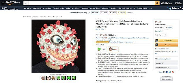 英國亞馬遜販售的冠狀病毒萬聖節面具。(取自英國每日郵報)