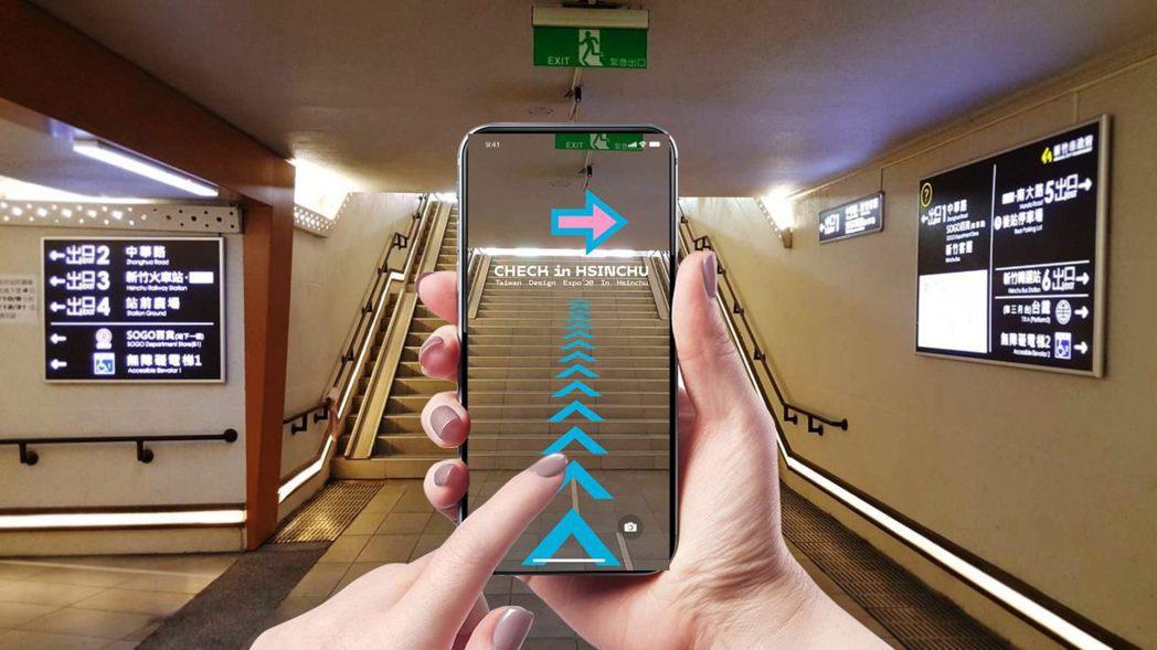 設計展推出官方app,提供觀展路線指引,還可跟新竹獸透過AR互動。圖/2020台...