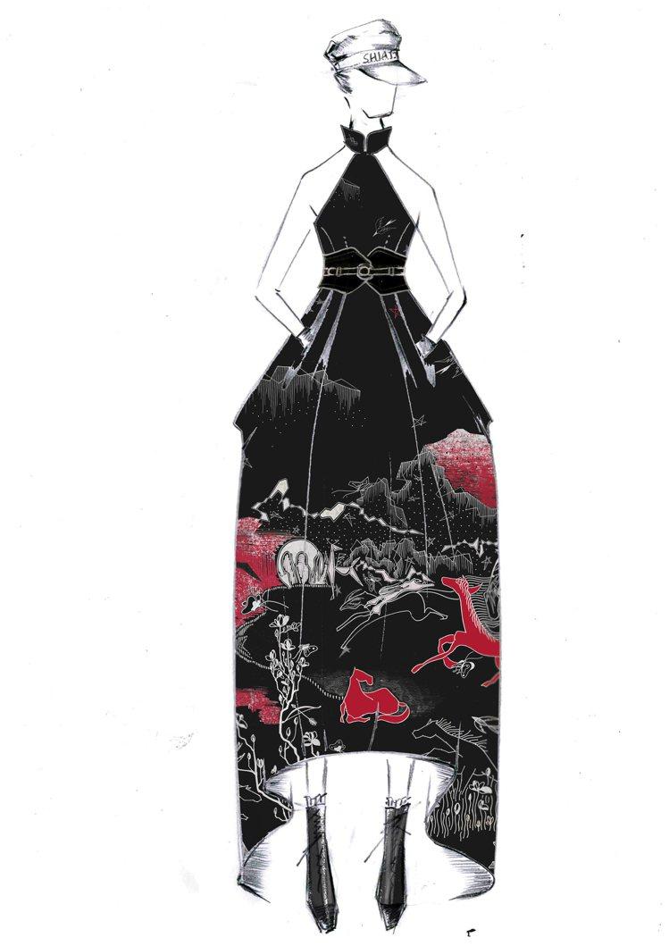 2021春夏女裝的勾勒發想圖。圖/夏姿提供