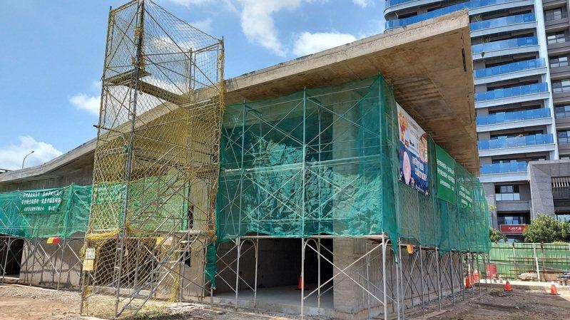 礫間處理設備機房施工架。圖/台中市水利局提供