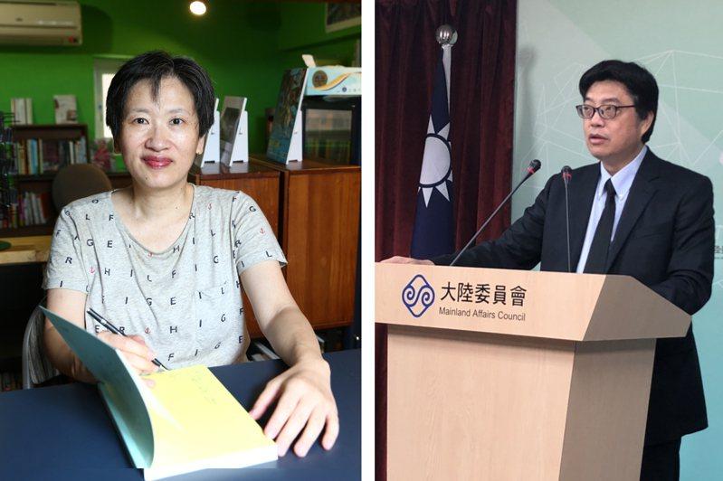 作家顏擇雅(左)認為陸委會「不應傷害台灣民眾的情感」的說法很失格。圖右為陸委會發言人邱垂正。圖/聯合報系資料照