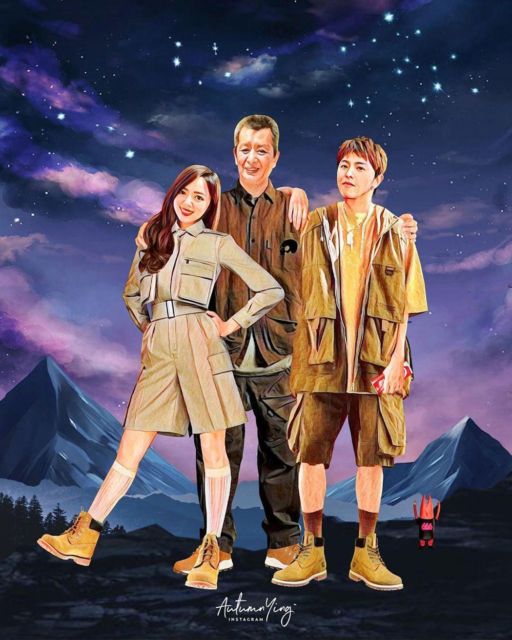 小鬼(右起)在autumn.ying的畫作中圓了跟爸爸、妹妹爬山的夢。圖/摘自I...