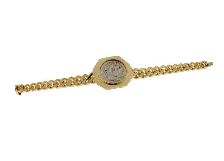 寶格麗Monete系列頂級黃K金古幣手鍊,黃K金手鍊,中央鑲嵌1顆古幣,100萬...