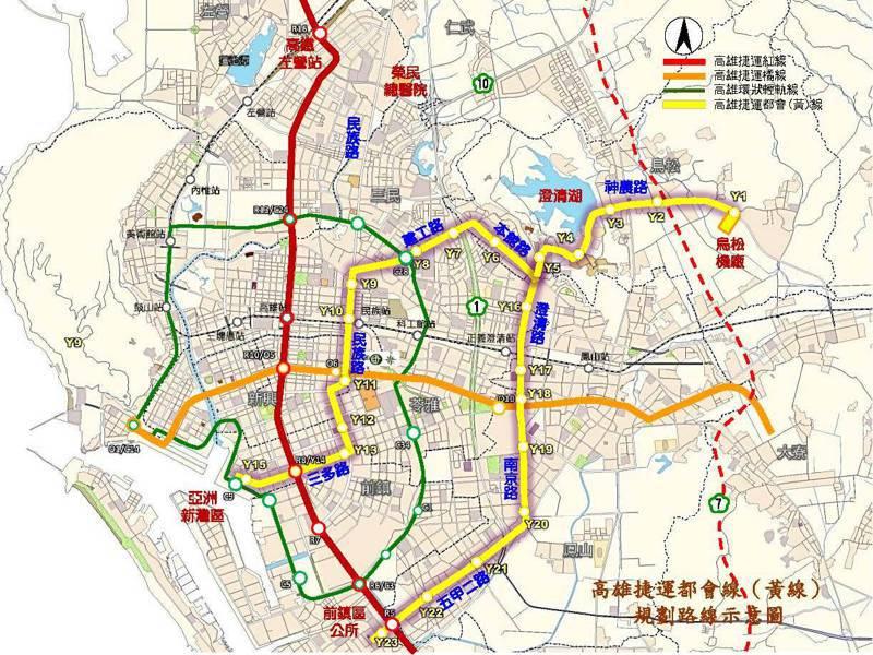 高雄捷運黃線路線圖。圖/高雄市捷運局提供