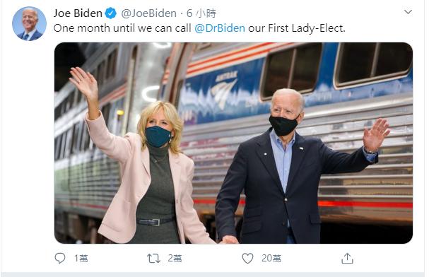 民主黨總統候選人拜登3日推文:「再過一個月,就可以叫拜登博士(拜登夫人)『第一夫人』了!」圖取自拜登推特。