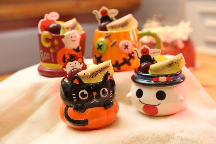 8款日本直送的「奇幻萬聖點心杯」,每杯198元,2杯350元。記者陳睿中/攝影