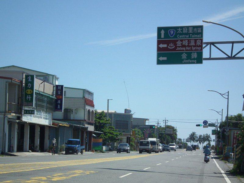 省道台9線上金峰鄉路口處,前後相隔不到30公尺的路牌指示,被民眾發現字體一國兩制,前方路牌寫「金峰」,後為「金鋒」。記者尤聰光/攝影