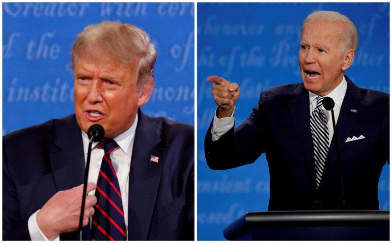 美國總統川普(左)和民主黨總統候選人拜登(右)。(路透)