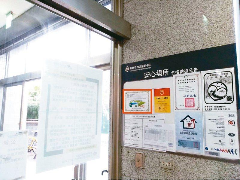 台北市推動公共場所室內空氣品質自主管理分級標準(橘框處),有議員質疑僅規範二氧化碳濃度,認證只做半套。圖/北市環保局提供