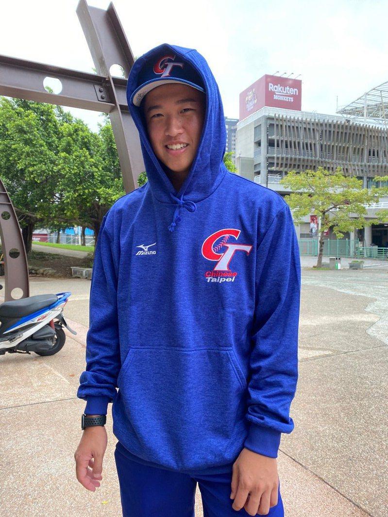 效力水手隊的20歲台灣左投張景淯。 記者陳宛晶/攝影