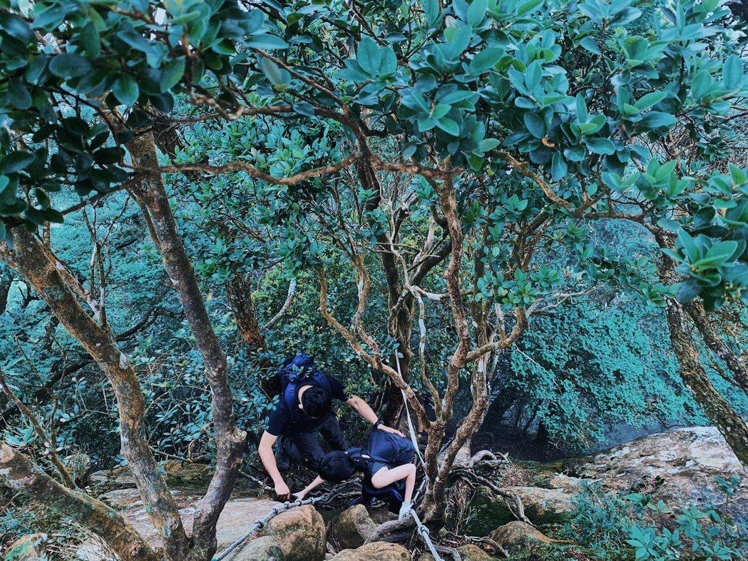 中級山地形多變,常見需要架繩之陡峭岩壁,攀登需要謹慎對應。 圖/格式設計展策提供