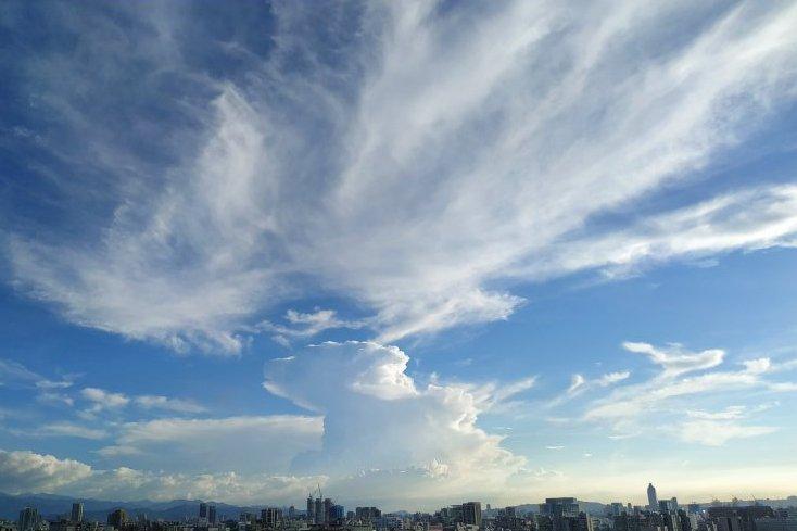 看雲的日子好療癒 乳白色卷雲佔領整片台北天空