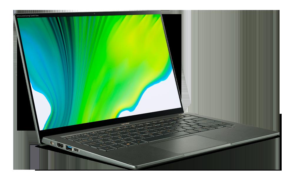 14吋Acer Swift 5具迷霧綠新色金屬感,特殊軸承設計更符合人體工學及達...