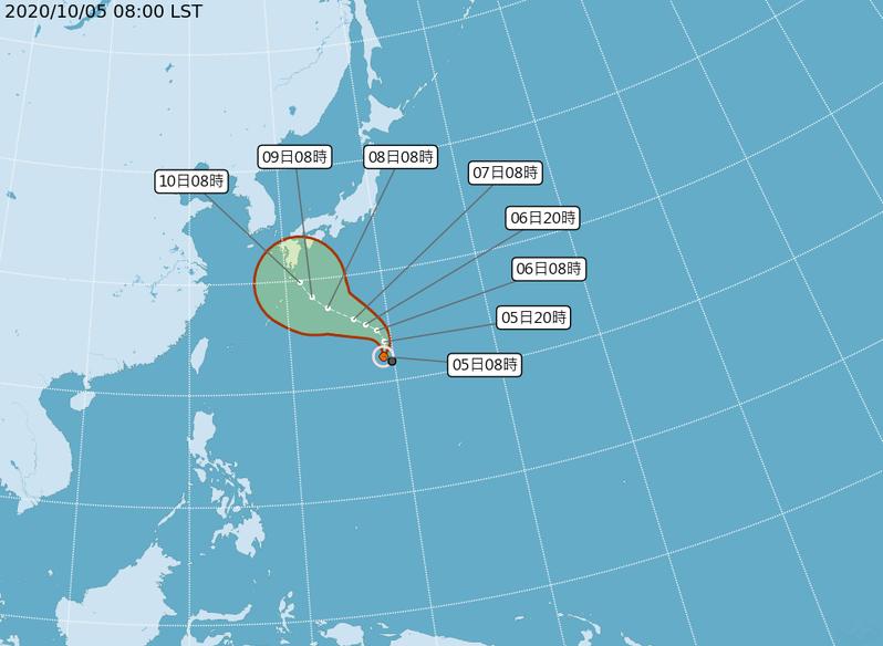 中央氣象局稍早公布,原位於硫磺島附近海面的熱帶性低氣壓,發展為今年第14號颱風(國際命名:CHAN-HOM,中文:昌鴻),距離台北東方約1800公里,預計8日前將逐漸接近琉球群島附近,氣象局密切注意中。圖/氣象局提供