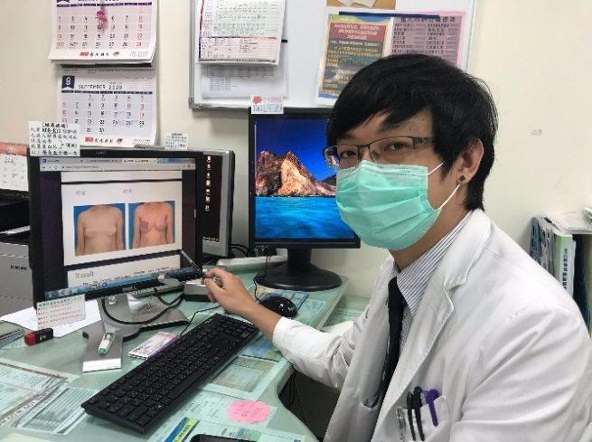 衛生福利部苗栗醫院乳房特別門診醫師雷秋文透過內視鏡微創手術,傷口藏在腋下或側胸,讓乳房外觀看不出來。圖/衛生福利部苗栗醫院提供