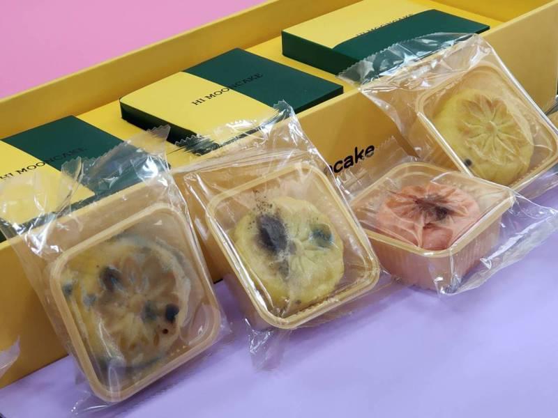 台中市議員賴佳微2日收到友人送的兩盒香港老行家月餅,打開一看月餅雖還在「此日期前最佳」的10月3日前,但已有數個月餅已經發霉。記者黃寅/攝影