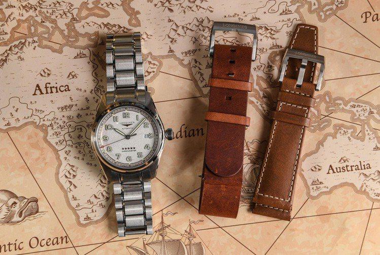 可搭配金屬鍊帶、皮表帶的浪琴Spirit先行者腕表、風格多變。圖 / Longi...