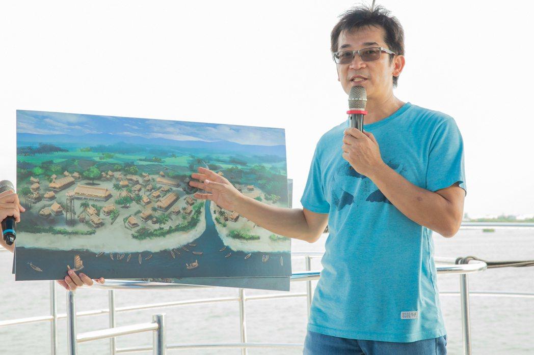 魏德聖為「臺灣三部曲」打造昔日歷史場景,他也在遊艇上遠眺場景說明搭建細節。圖/米