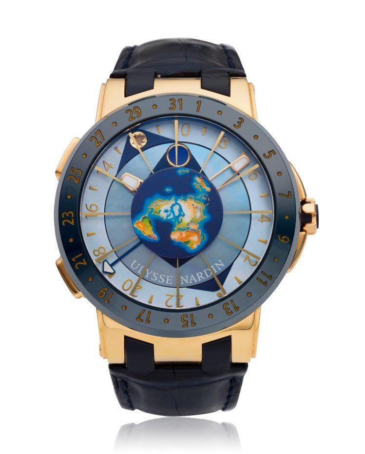 雅典表編號1062-113的MOONSTRUCK玫瑰金陶瓷腕表,估價30,000...