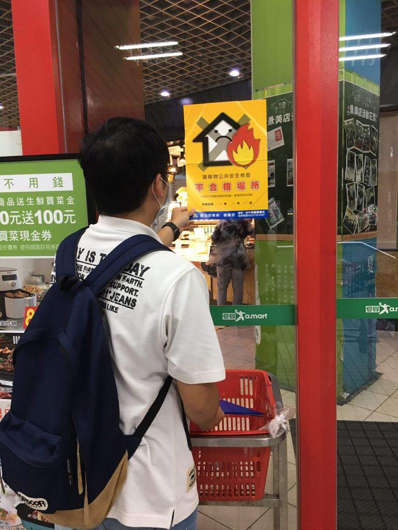 北市今抽查4家百貨賣場,發現愛買景美店防火門不符合規定,當場重罰。圖/北市建管處提供