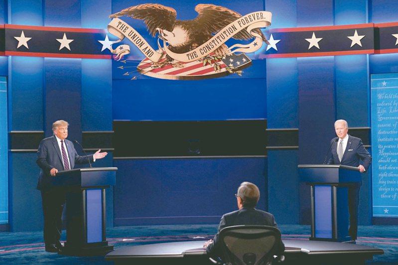 美國總統大選首場辯論會,爭取連任的共和黨籍總統川普(左)和民主黨候選人拜登(右)言詞交鋒。 (美聯社)