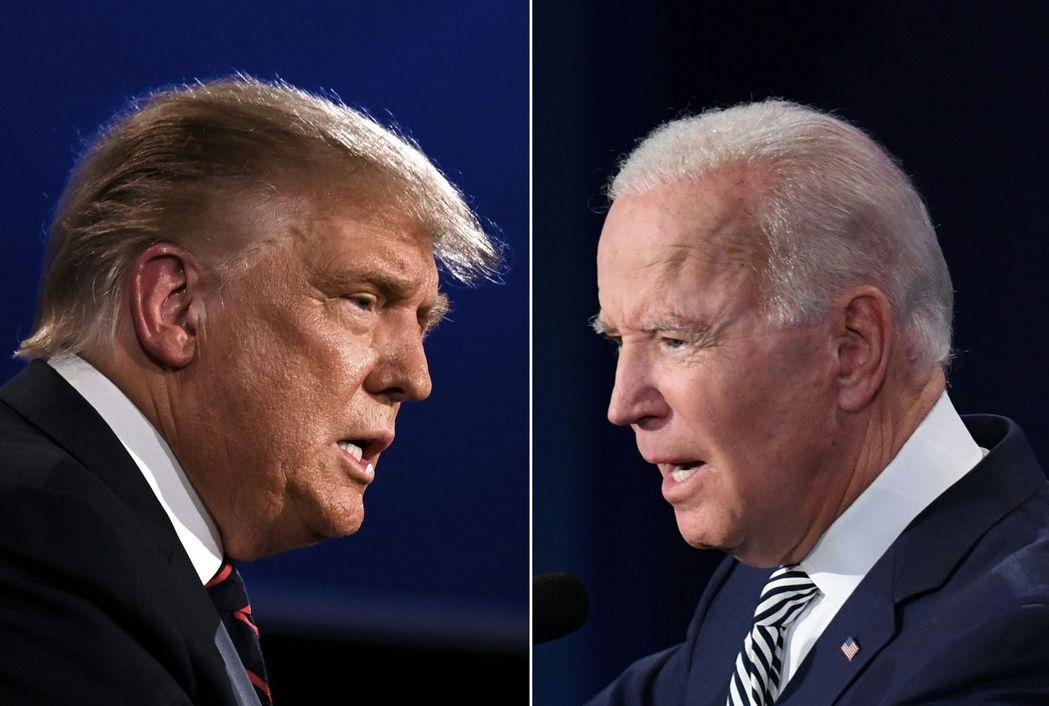 根據最新民調,民主黨候選人拜登(右圖)在全國民調的領先擴大,並在六個關鍵搖擺州維...