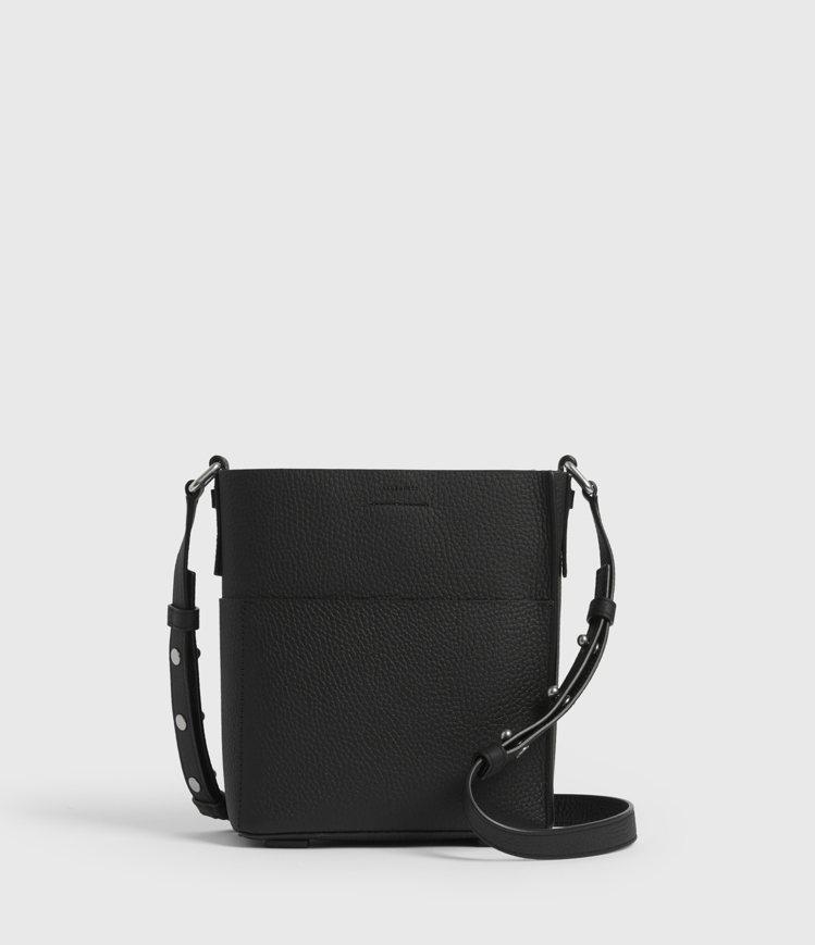AllSaints Adelina黑色牛皮側背包8,300元。圖/AllSain...