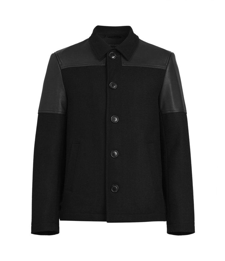 AllSaints Tarf黑色皮革拼接夾克16,900元。圖/AllSaint...