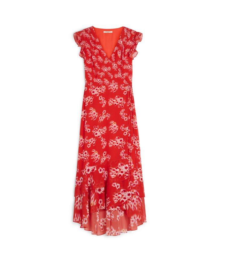 AllSaints Dela紅底印花長洋裝11,200元。圖/AllSaints...