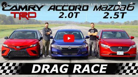影/Toyota Camry TRD對決Honda Accord和Mazda6 哪台家庭房車能率先通過終點呢?