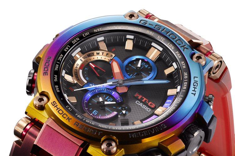 G-Shock將藍色、紫色和金色濃縮於鍍膜表圈。