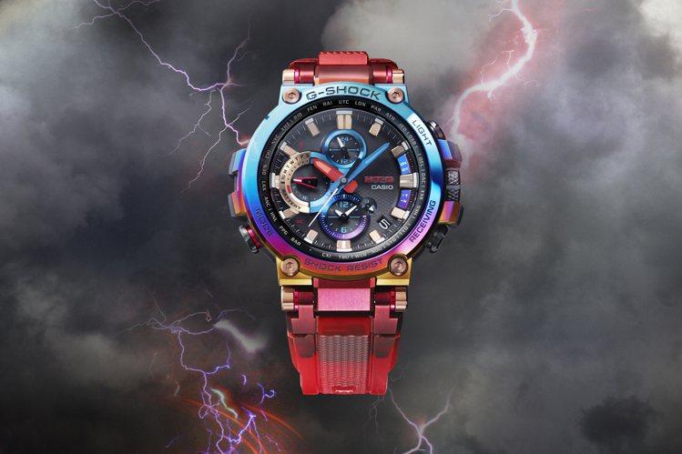 G-Shock MT-G系列MTG-B1000VL表款,重現了火山噴發的情景。圖...