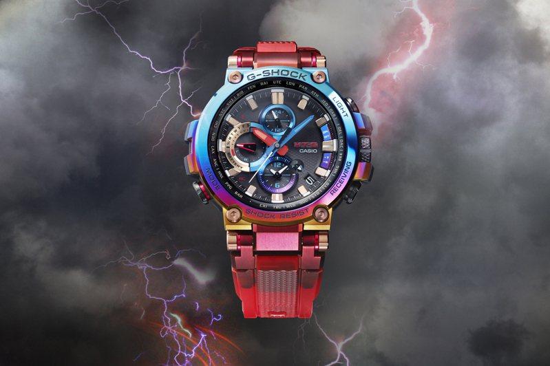 G-Shock MT-G系列MTG-B1000VL表款,重現了火山噴發的情景。圖/Casio提供