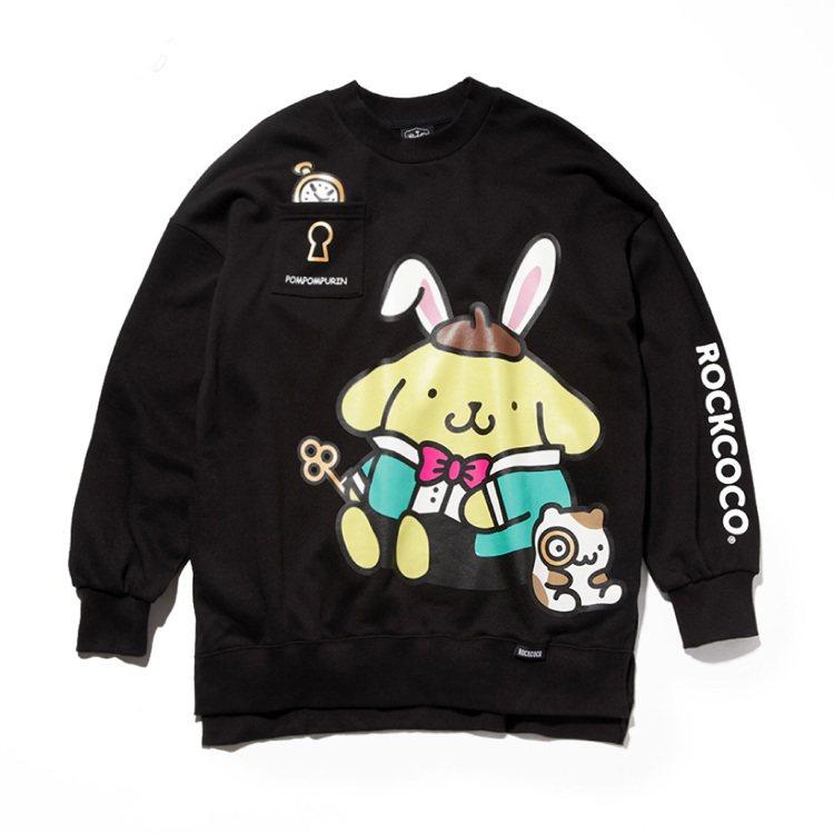 ROCKCOCO與三麗鷗聯名《童話家族》系列大學衫1,680元。圖/ROCKCO...