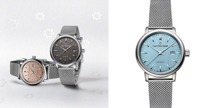新款寶齊萊Adamavi AutoDate腕表,除鮭魚金色外,另有黑色、天空藍色...